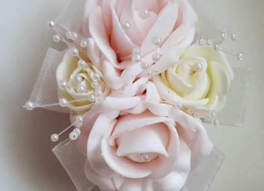 Artificial Flowers 4 Rose Wrist Corsage with Crystal or Pearl