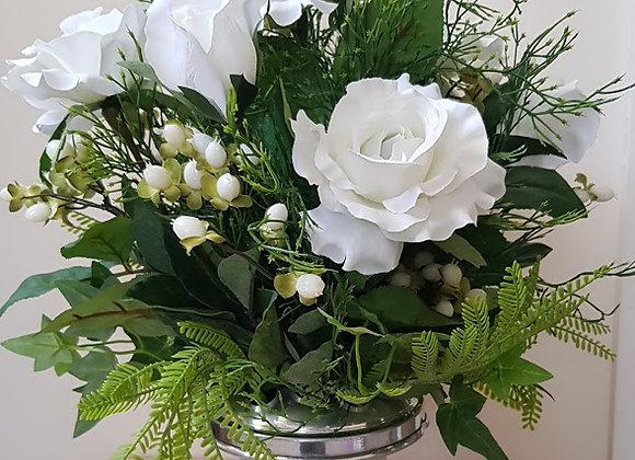 SILK FLOWERS GRAVE POT  ROSES, FERN, HYPERNICUM