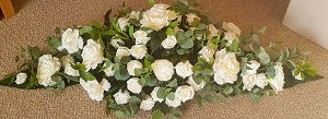 Silk Flowers 4 Foot Coffin Spray White R