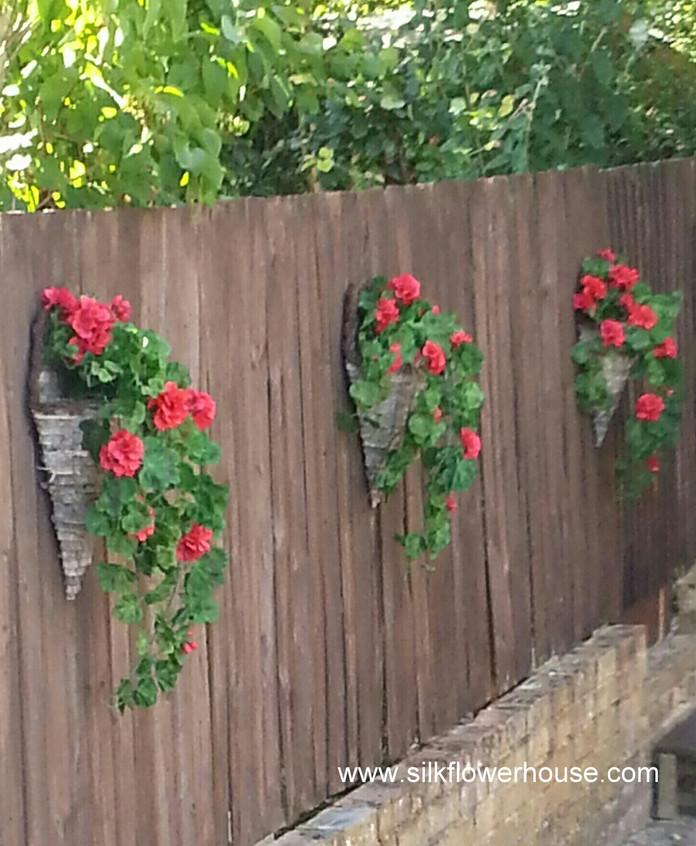 Red Geranium Hanging Baskets Silk Flowers