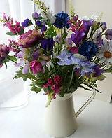 Jug of Cottage Garden Silk Flowers .jpg