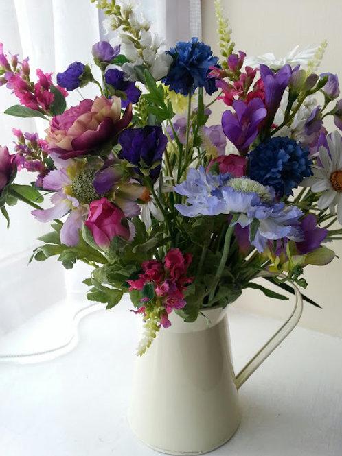 SILK FLOWER ARRANGEMENT COTTAGE GARDEN FLOWER JUG