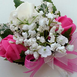 Hot Pink and White Rose, Gypsophila and
