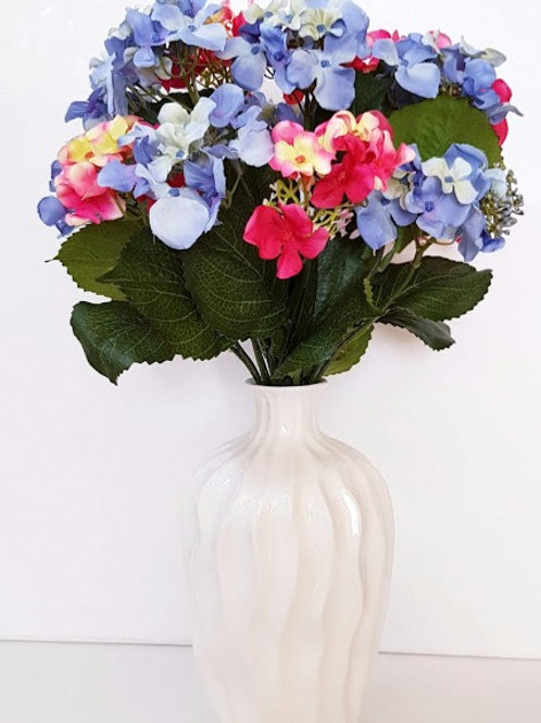 Artificial Flowers in Vase. Blue and Pink Hydrangeas White Vase