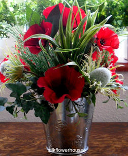 Red Poppy Silk Flower Arrangement