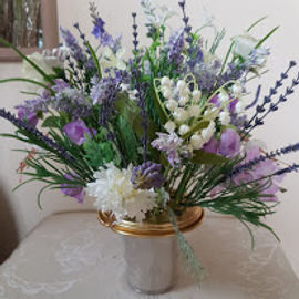 Silk Grave Flowers in Pot . Dixon.jpg