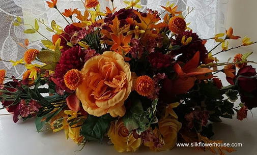 Silk Flower Arrangements for Grave Autum