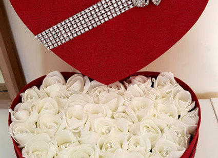 Red Heart Shaped Gift Box with White Rosebuds and Diamonte Embellishments