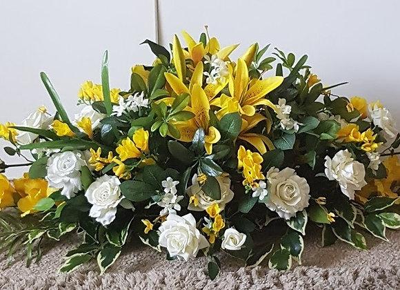 SILK FLOWERS  FUNERAL SPRAY/COFFIN SPRAY