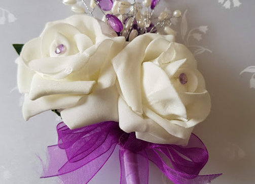 Artificial Rose Corsage with Purple and Pearl Embellishment
