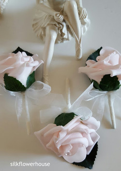 Blush Pink Rose Buttonholes with Crystal
