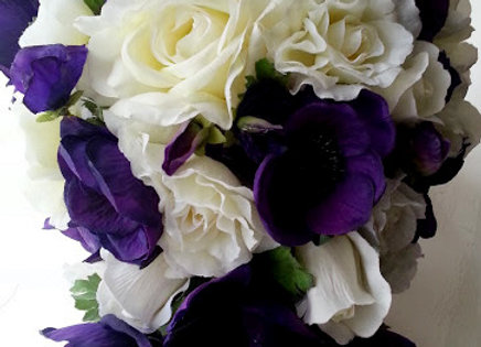 Silk Flowers Bridal Bouquet with Rose, Anemone and Sweetpea