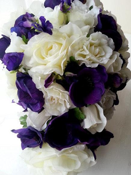 SILK FLOWERS BRIDAL BOUQUET - ROSE, ANEMONE, SWEET PEA