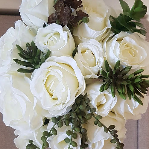 WEDDING FLOWERS COLLECTION - SILK ROSE AND SUCCULENT