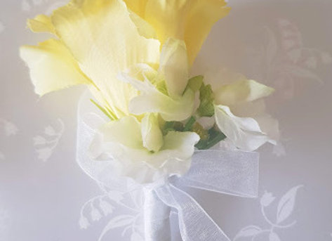 Silk Flower Buttonhole or Corsage Yellow and Ivory