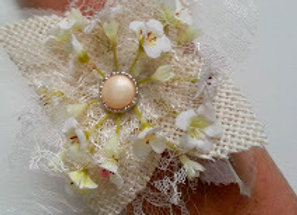 Hessian, Lace and Babies Breath Tie On Wrist Corsage
