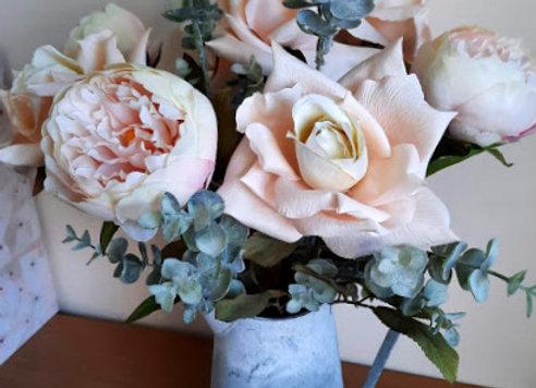 Silk Flower Arrangement Blush Rose and Peony Jug
