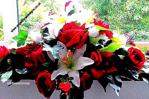 ARTIFICIAL ROSE AND SILK LILY CENTREPIECE