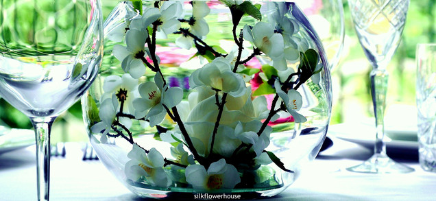 silk rose and blossom bubble bowl centrepiece
