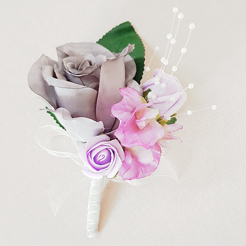 ARTIFICIAL ROSE AND PINK SWEET PEA CORSAGE