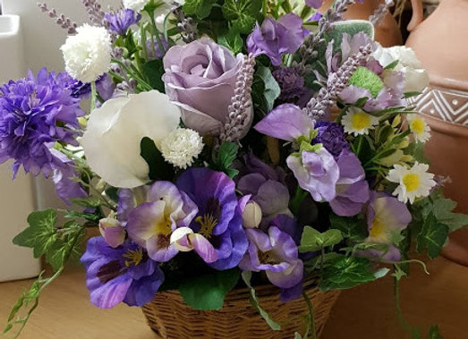 Silk Flowers Basket in Shades of Lilac