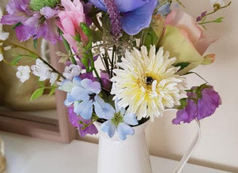 Silk Flower Arrangement Pastel Garden Jug