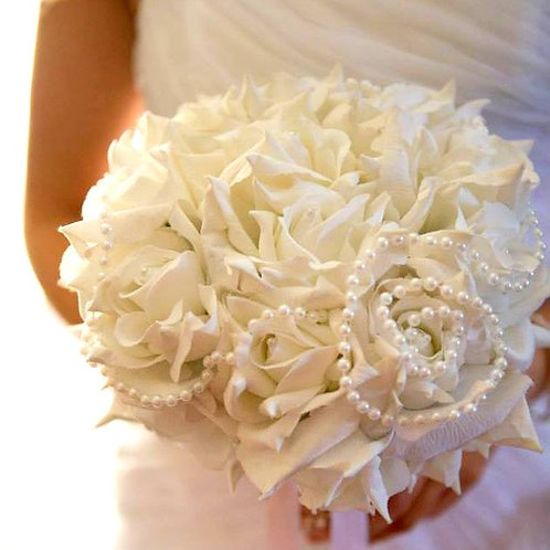 Artificial Rose and Pearl Bridal Bouquet