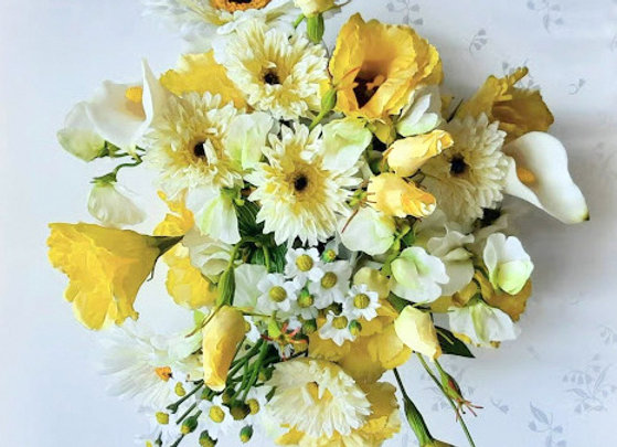 Silk Flower Wedding Flowers Collection  - Lemon and Ivory