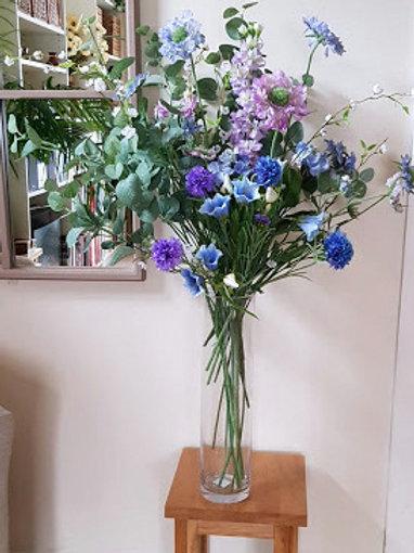 SILK FLOWERS BOUQUET MAUVE/BLUE