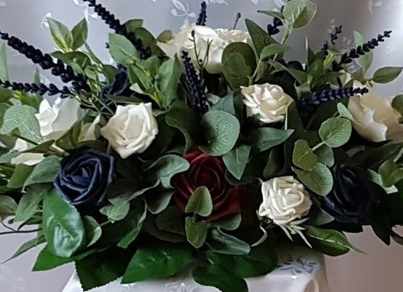 Artificial Flowers Top Table Arrangement Rose and Lavender
