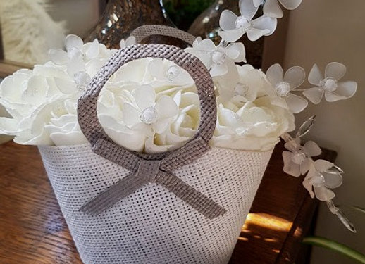 ARTIFICIAL ROSE GIFT BAG WITH ACRYLIC CHERRY BLOSSOM
