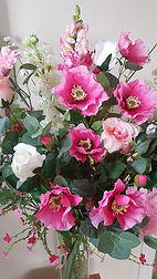 Silk Flowers Bouquet Pink and White Mixe