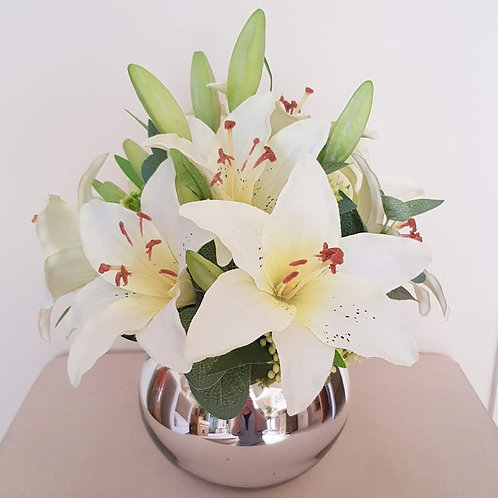 ARTIFICIAL FLOWERS LILLIES IN SILVER BUBBLE BOWL