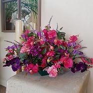 Silk Flower Arrangement Hot Pink and Purple