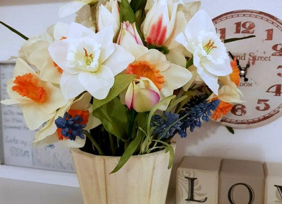Spring Silk Flower Arrangement Wooden Pail Pale Yellow