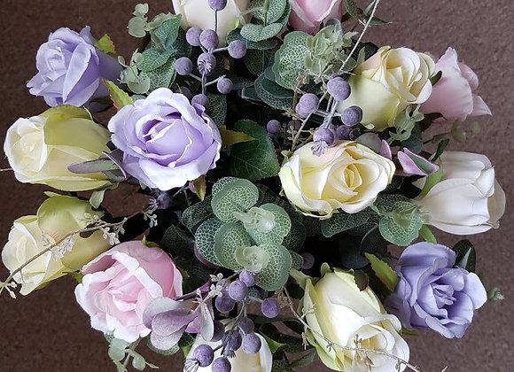 Silk Flower Bouquet - Pastel Rosebuds, Eucalyptus and Berries