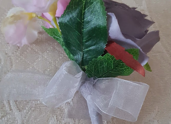 Artificial Rose and Sweetpea Buttonhole or corsage