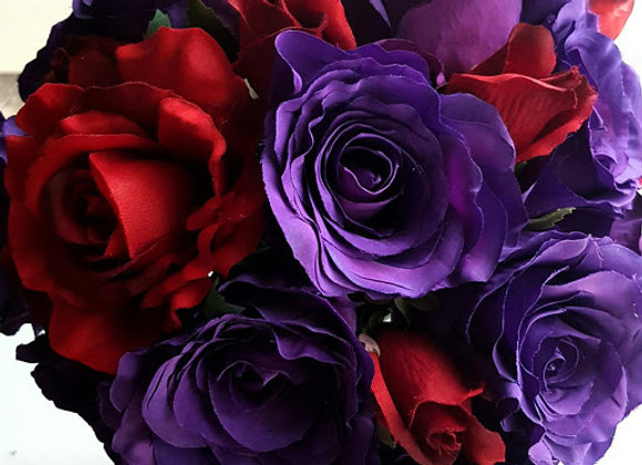 SILK FLOWERS DEEP PURPLE AND DEEP RED BRIDESMAIDS BOUQUET and FLOWER GIRL POSY