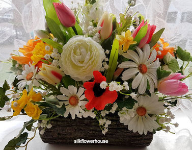 Silk Flower Arrangement for Grave or Memorial
