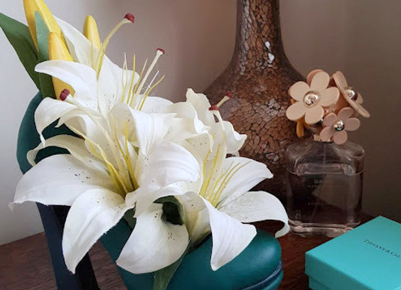 Silk Flower Arrangement  Lily  Shoe