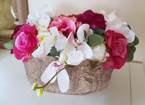 Silk Flower Arrangement for Graveside Pink and Ivory Mix