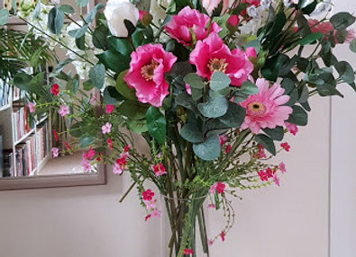 Large Silk Flowers Bouquet in Pink and White