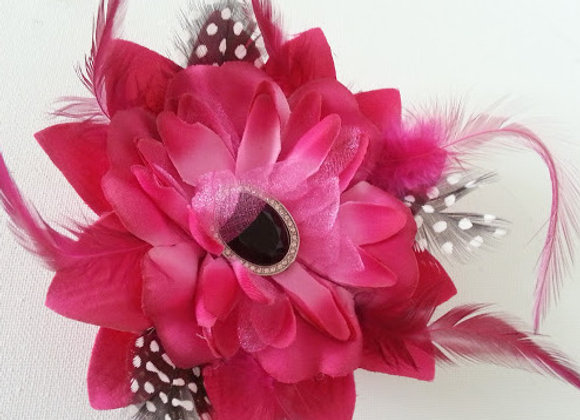 Arificial Flower Hair Accessory or Corsage Hot Pink and Black