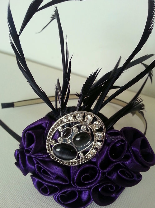 ARTIFICIAL FLOWERS PURPLE BEADED HAIR ACCESSORY