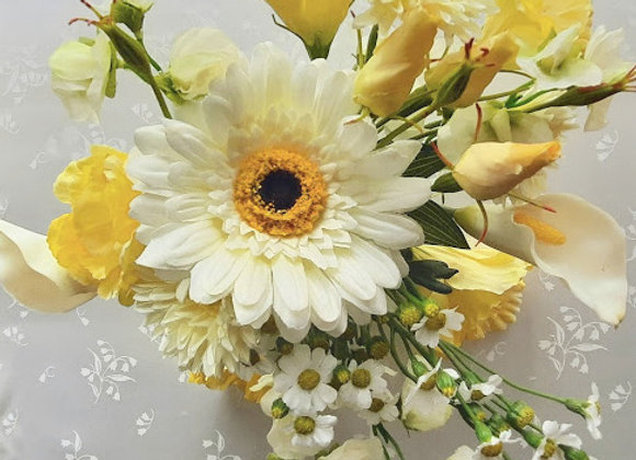 Silk Flower Bouquet- Bridesmaid and Flower Girl - Lemon and Ivory