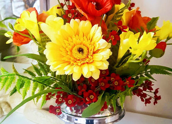 Silk Flowers Grave Pot Bright Summer Flowers