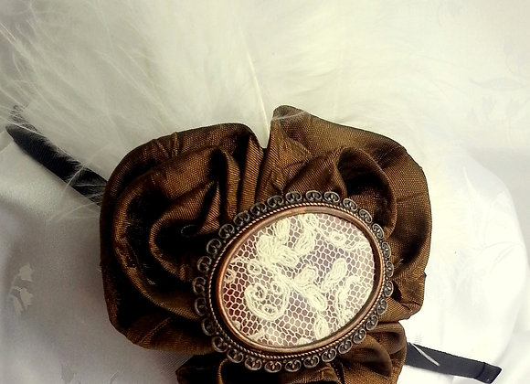 VINTAGE STYLE HAIR ACCESSORY BROWN, BRONZE, LACE CAMEO