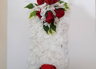 Artificial Funeral Flowers Cricket Bat and Ball