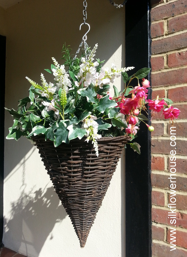 Silk Flowers Hanging Basket