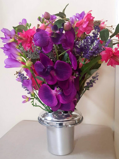 SILK FLOWERS GRAVE POT  PURPLE AND PINK